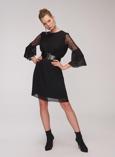 f42acd818a19c People By Fabrika Dantel Detaylı Şifon Elbise Siyah ...